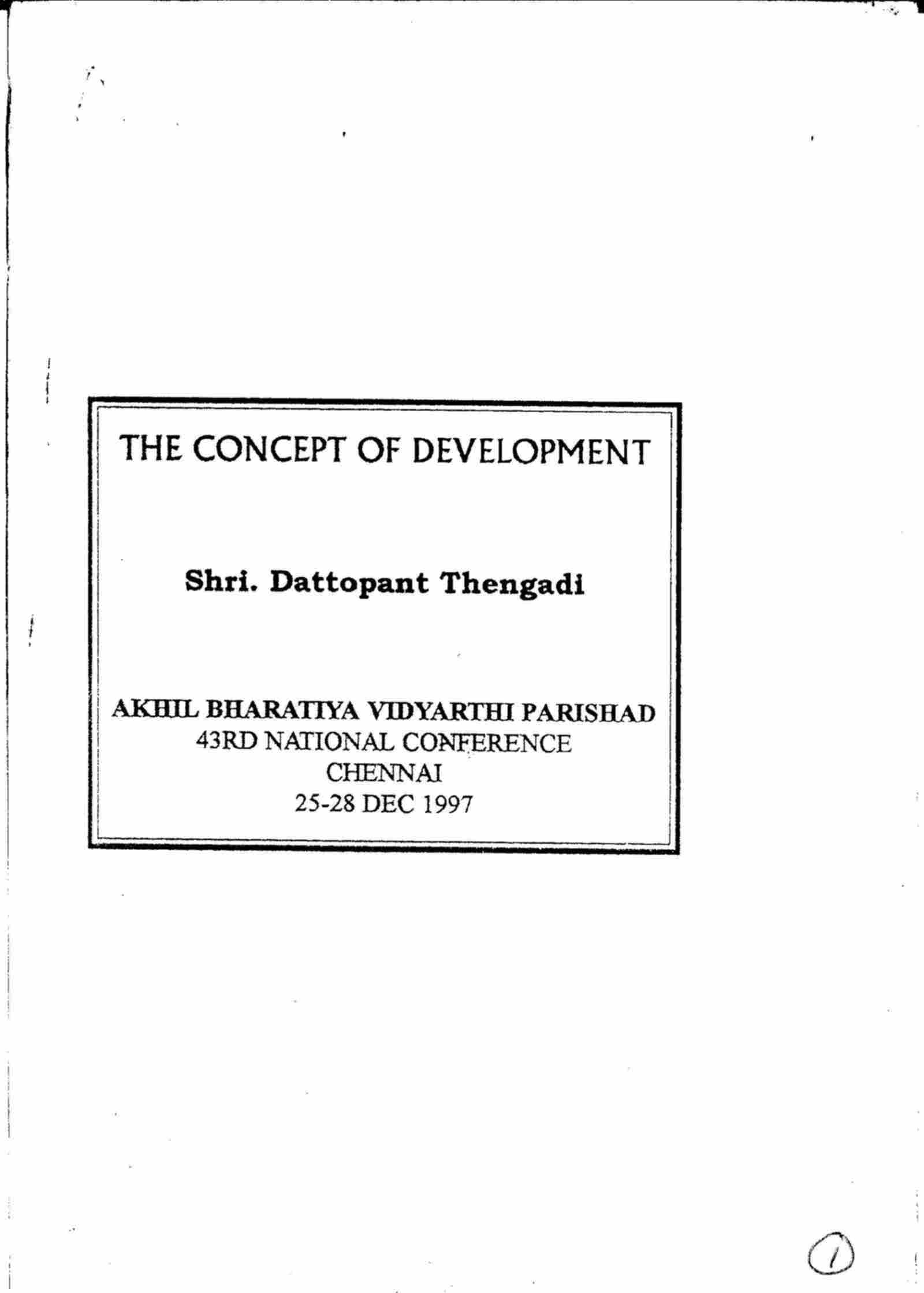 The Concept of Development
